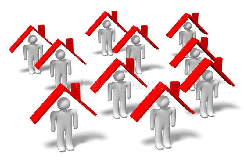 3D question mark concept - HOUSING PROBLEMS... stock illustration