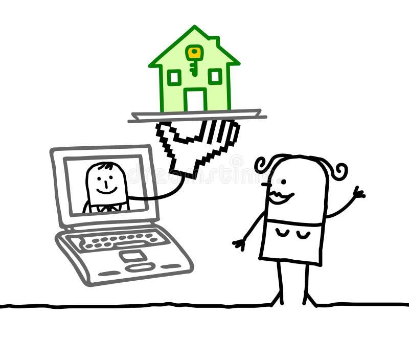 housing söka kvinnan vektor illustrationer