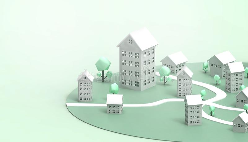 Housing Symbol Green and Energy saving property business Concept Modern art and contemporary on Green paste Monotone Background stock illustration