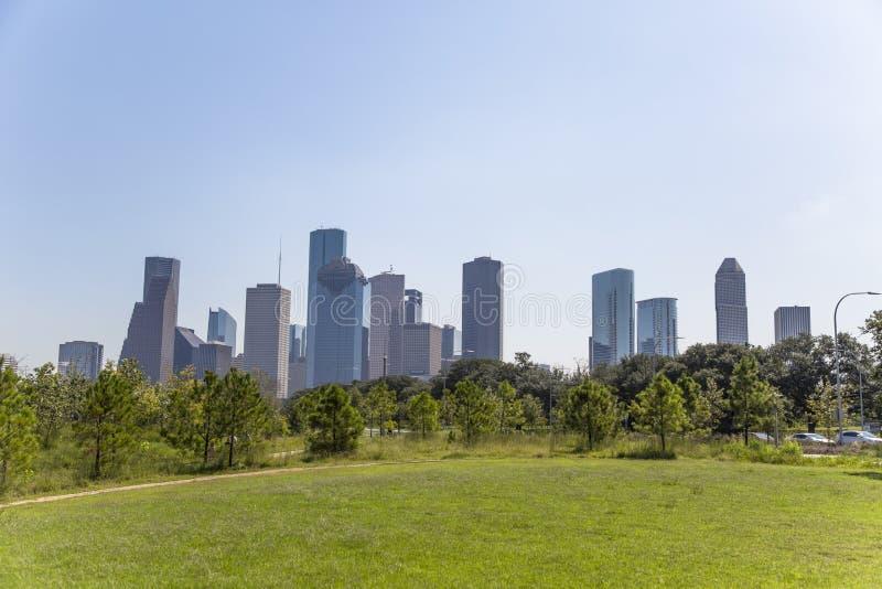 Houston śródmieście od bawoliego zalewisko parka zdjęcia stock
