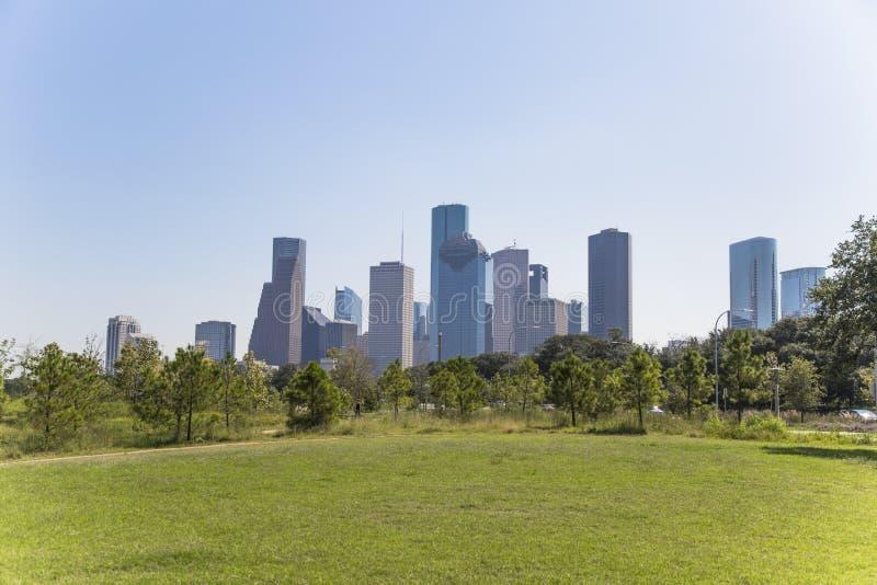 Houston śródmieście od bawoliego zalewisko parka obrazy royalty free