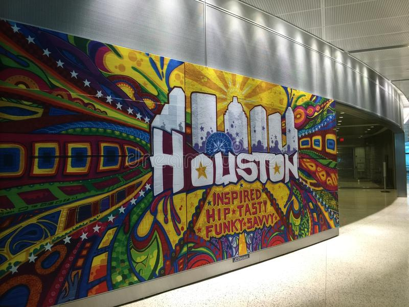 Houston Airport-graffiti stock foto