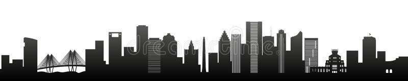 Houston, arranha-céus pretos da silhueta e construções ilustração do vetor