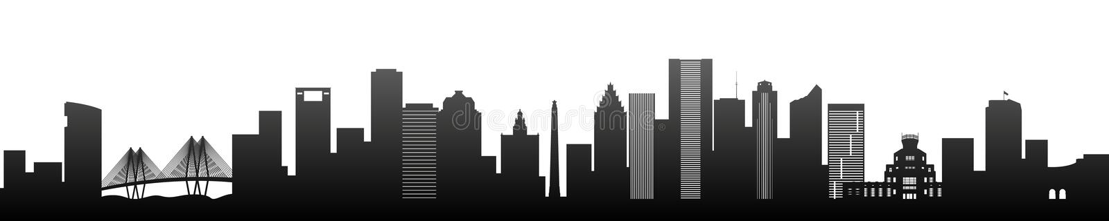 Houston, black silhouette skyscrapers and buildings. vector illustration