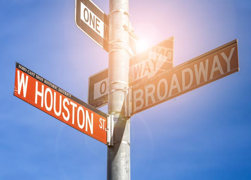 Houston and Broadway street signs in New York City royalty free stock photography