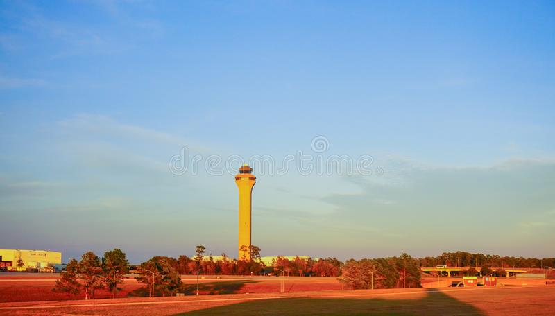 Houston Bush Airport. At sun set stock images