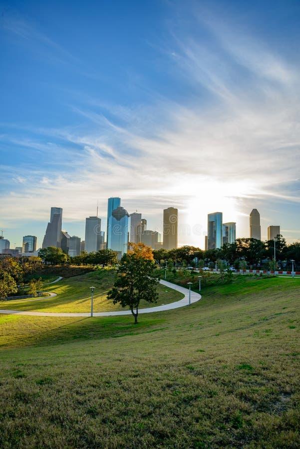 Houston céntrica en la puesta del sol fotos de archivo libres de regalías