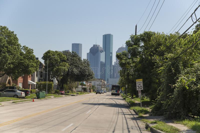 Houston downtown from w gray street. Houston is a city of different scenarios, its buildings on the horizon in an excellent way. Other excellent places to visit royalty free stock image