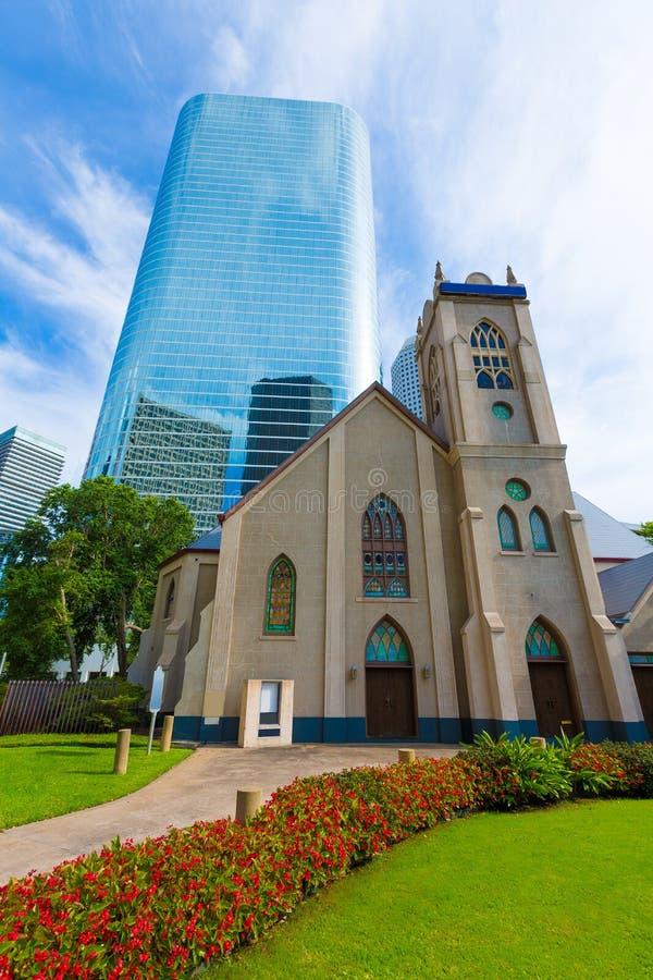 Houston cityscapeAntioch kyrka i Texas USA arkivfoto