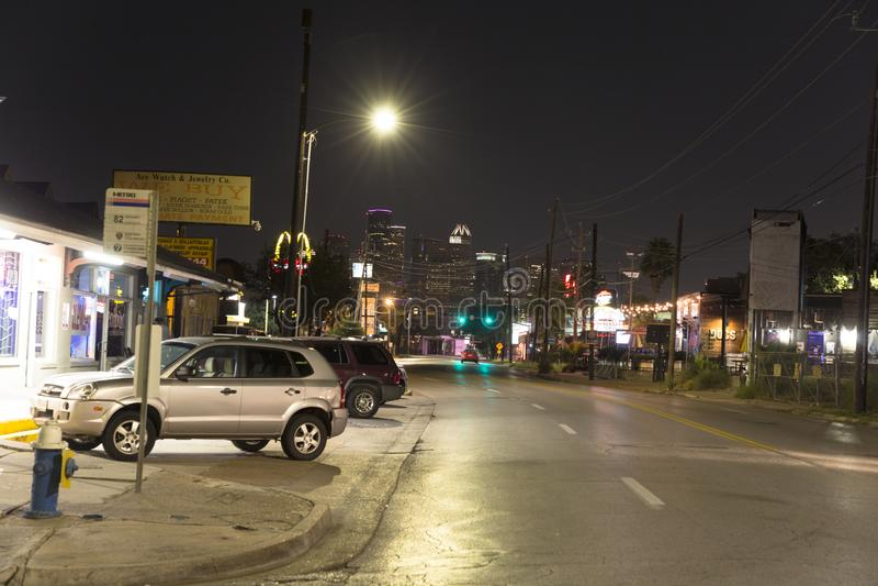 Houston d'un voisinage la nuit photo stock