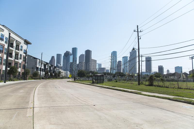 Houston de Midtown la nuit photos stock