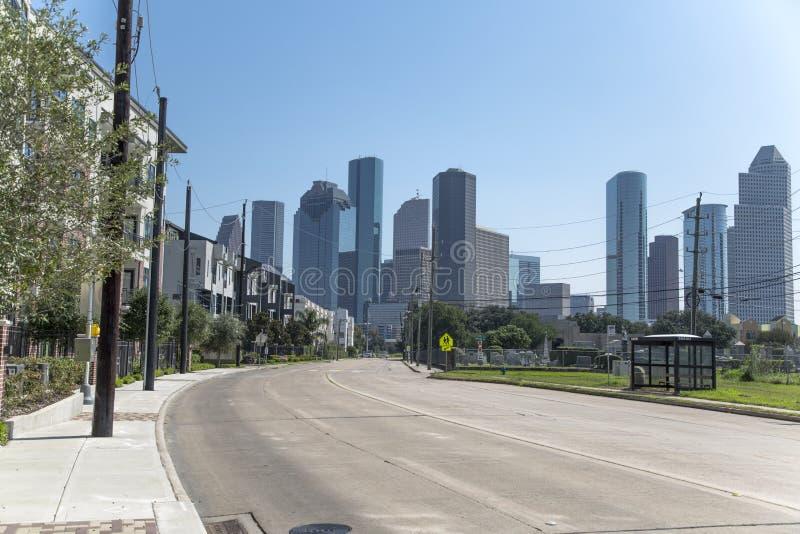 Houston de stad in van uit het stadscentrum buurt stock fotografie