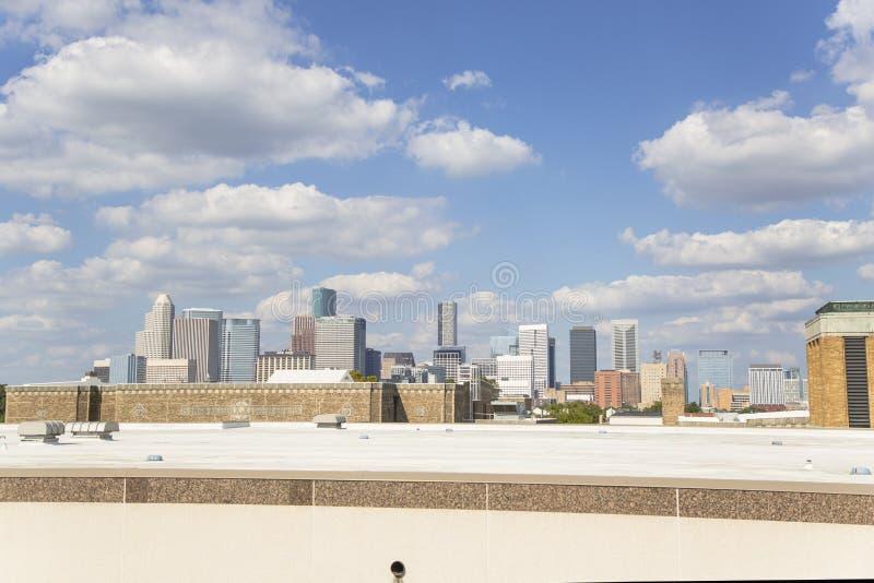 Houston del centro dall'autostrada senza pedaggio 10 immagine stock libera da diritti