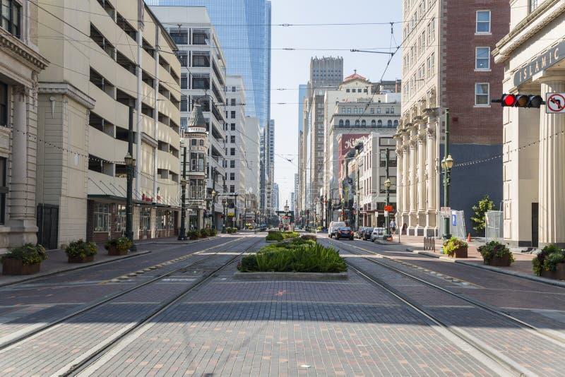 Houston del centro dalla via principale immagini stock