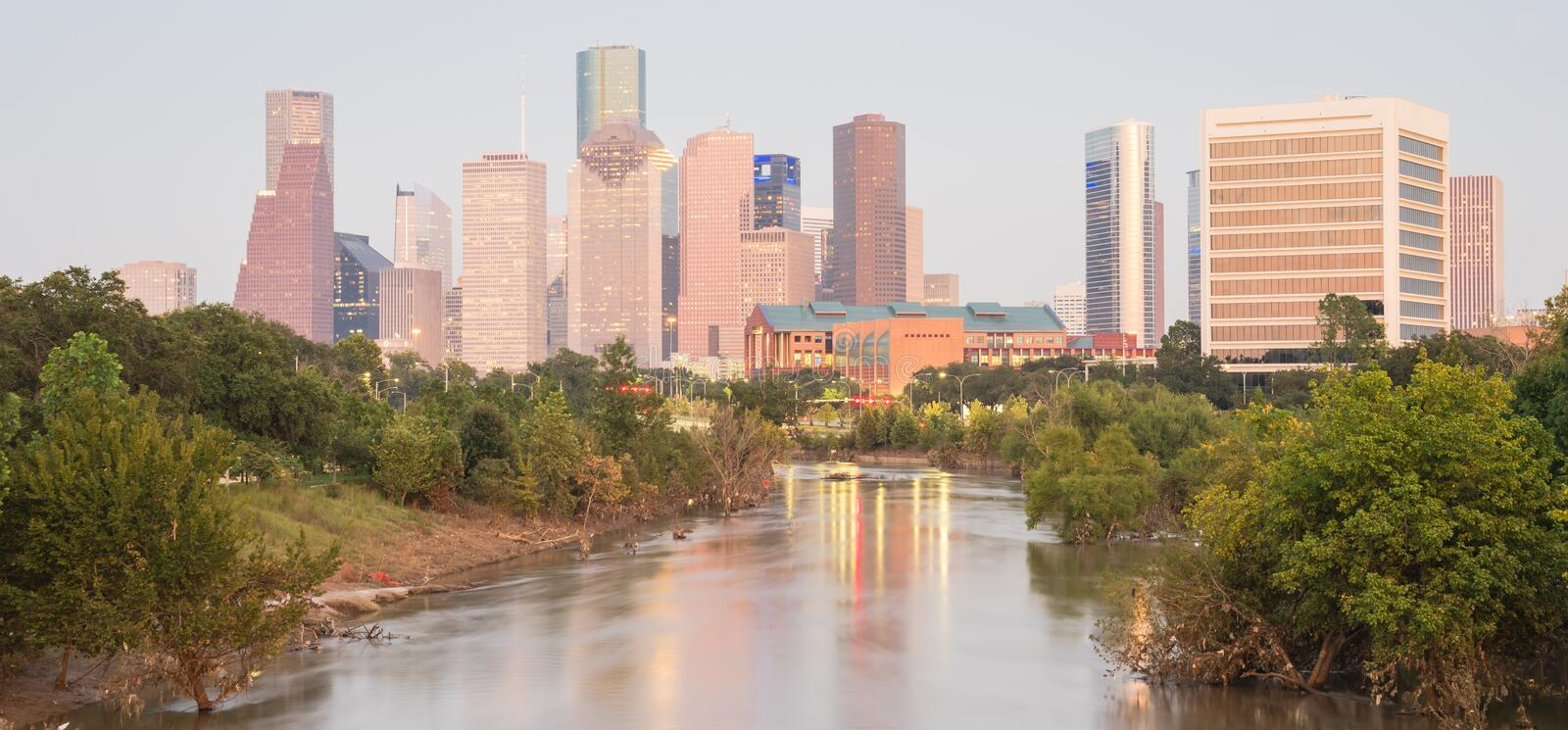 Houston Downtown Bayou River Sunset fotografia de stock