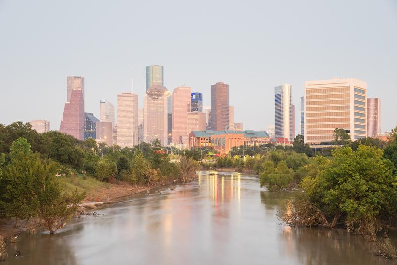 Houston Downtown Bayou River Sunset imágenes de archivo libres de regalías