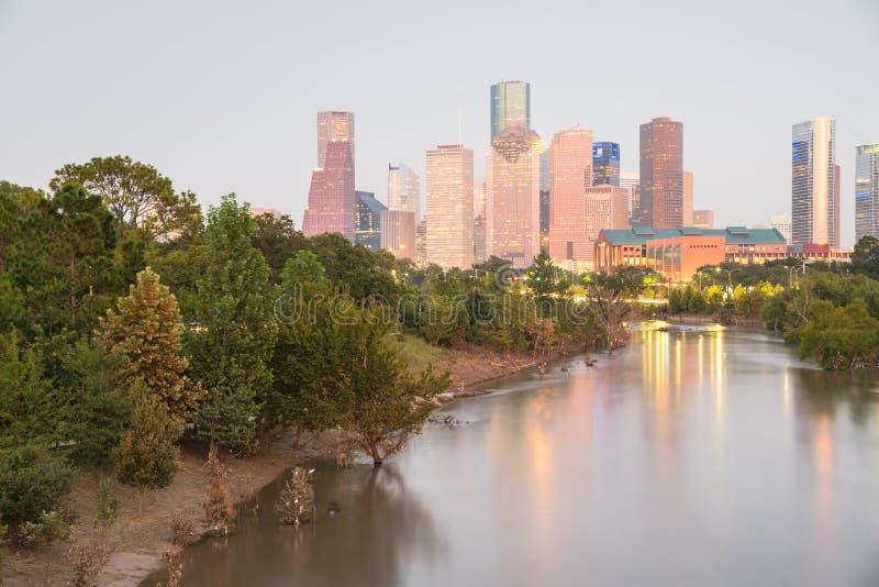 Houston Downtown Bayou River Sunset foto de archivo libre de regalías