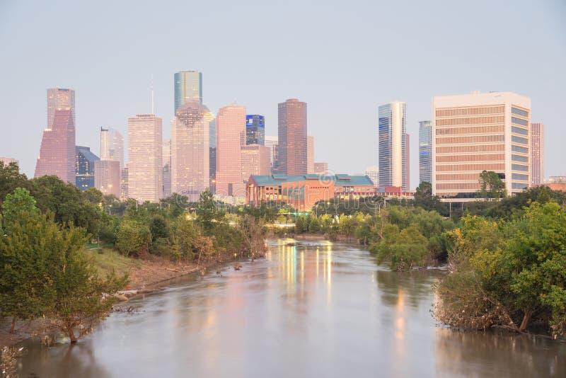 Houston Downtown Bayou River Sunset fotografía de archivo libre de regalías