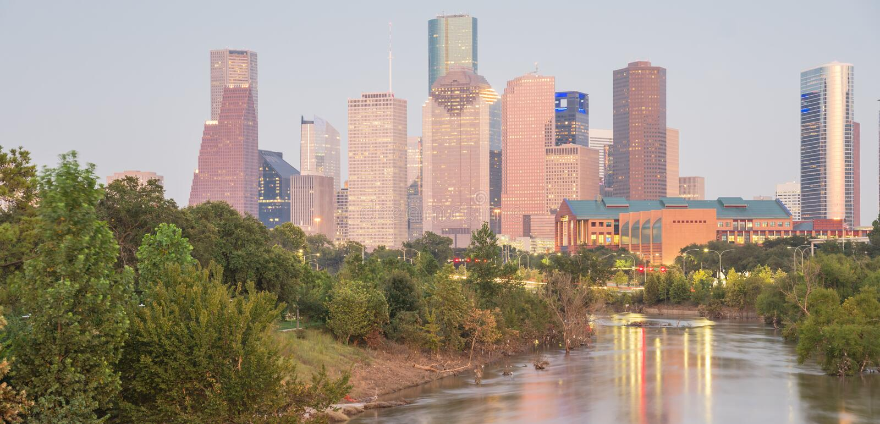 Houston Downtown Bayou River Sunset fotos de archivo libres de regalías