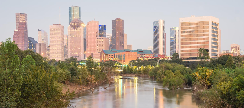 Houston Downtown Bayou River Sunset fotografía de archivo