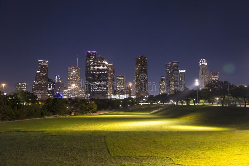 Houston downtown from buffalo bayou park stock photography