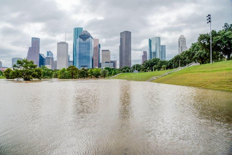 Houston Downtown Flood imágenes de archivo libres de regalías