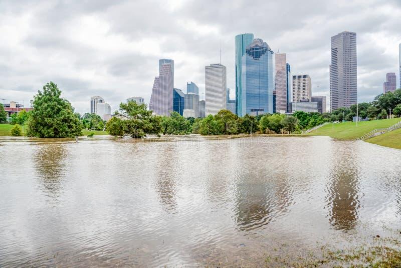 Houston Downtown Flood fotografía de archivo libre de regalías