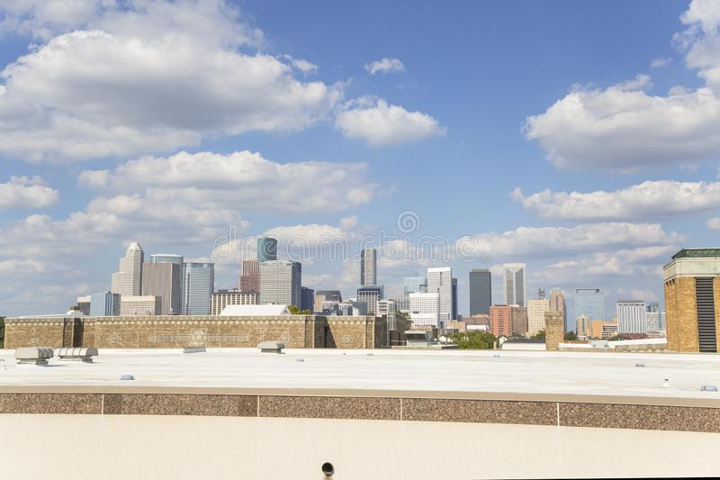 Houston downtown from freeway 10 royalty free stock image