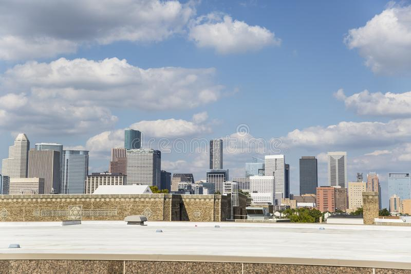 Houston downtown from freeway much speed. Houston is a city of different scenarios, its buildings on the horizon in an excellent way. Other excellent places to royalty free stock image