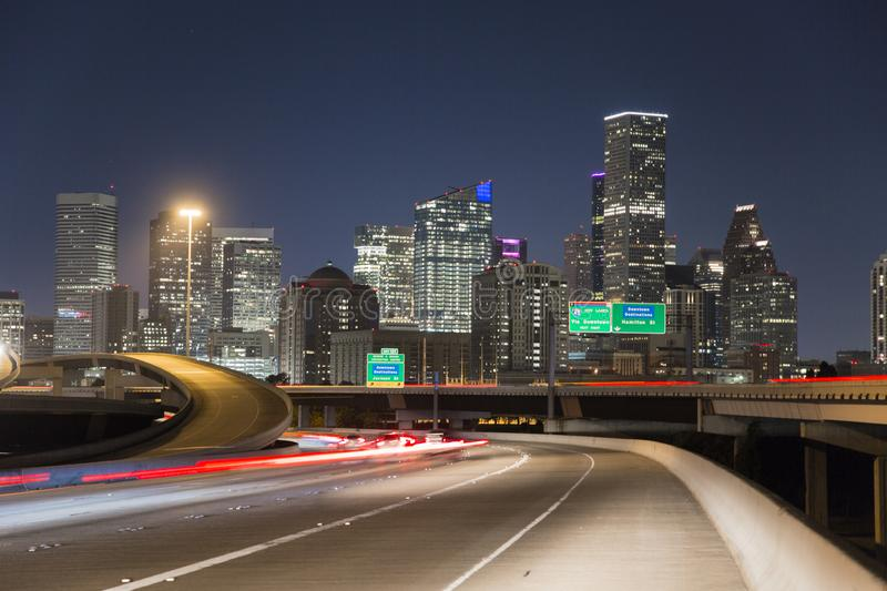Houston downtown freeway night speed. Houston is a city of different scenarios, its buildings on the horizon in an excellent way. Other excellent places to visit stock photo