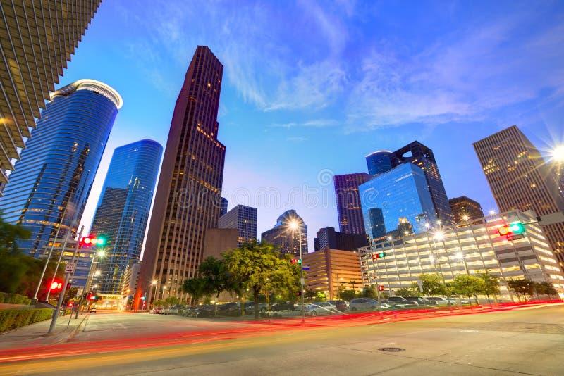 Houston Downtown horisont på solnedgången Texas USA arkivbilder