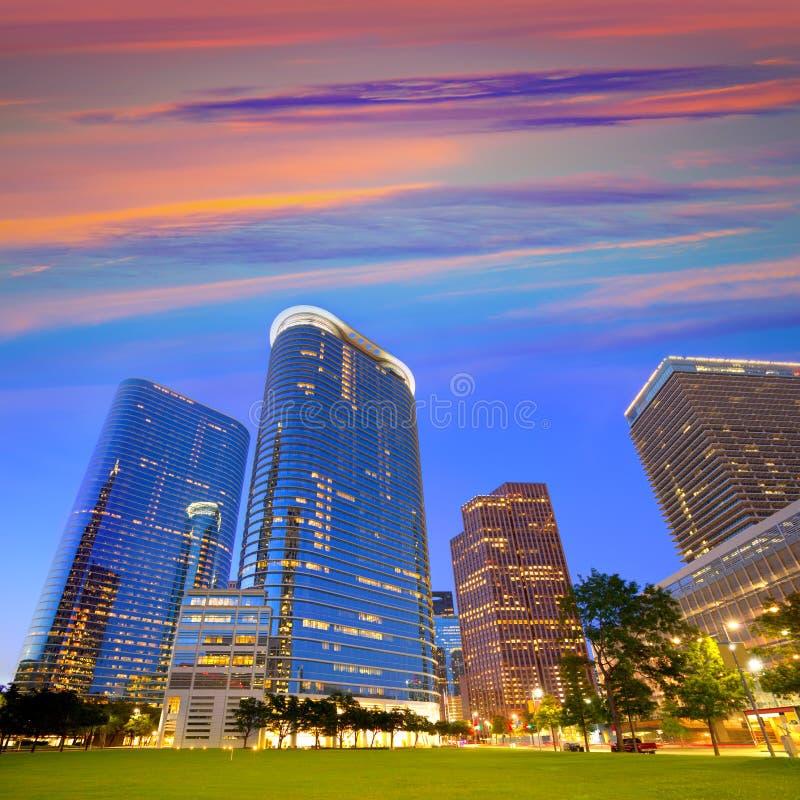 Houston Downtown horisontsolnedgång på Texas USA royaltyfria bilder