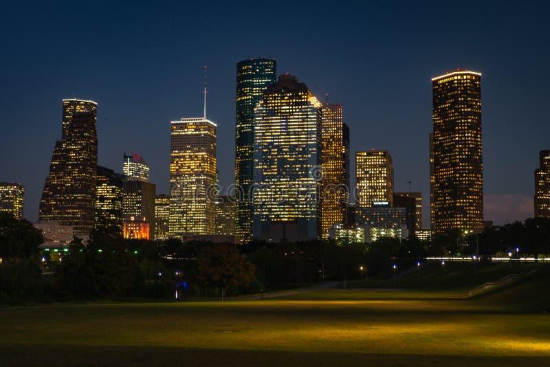 Houston Downtown la nuit photo libre de droits