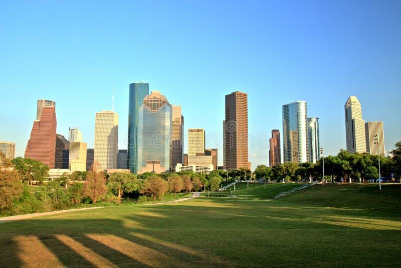 Houston Downtown Skyline på solnedgången royaltyfri foto