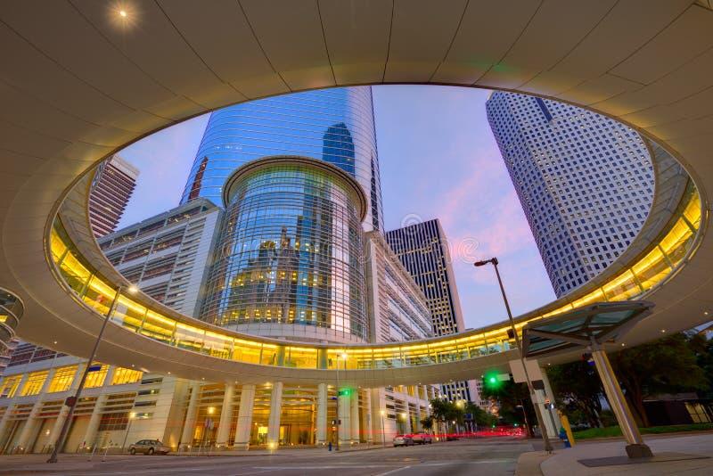 Houston Downtown solnedgångskyskrapor Texas arkivbild