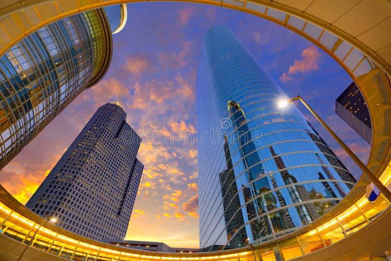 Houston Downtown solnedgångskyskrapor Texas arkivfoton