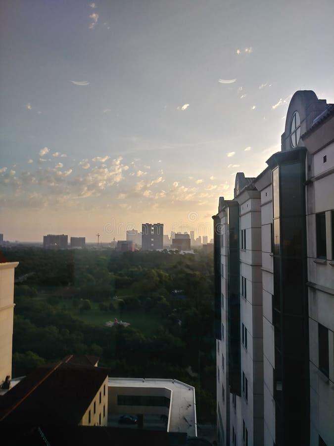 Houston du centre au lever de soleil photographie stock