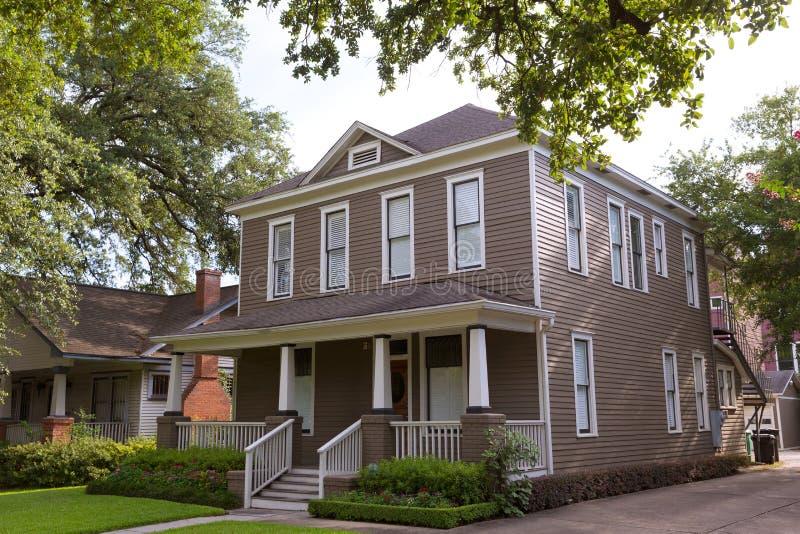 Houston Heights Blvd-huizen in de stad in Texas de V.S. stock foto's