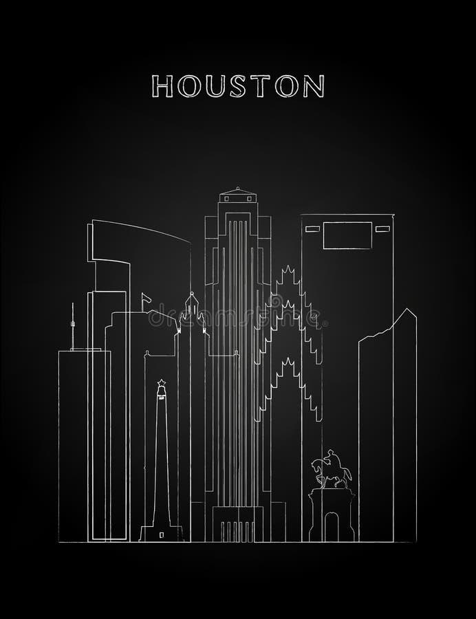 Houston horisont med kritateckningen på en svart svart tavla stock illustrationer