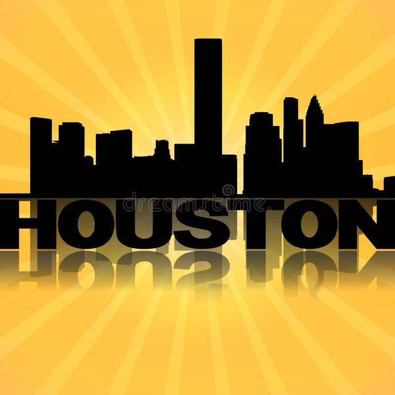 Houston horisont reflekterad med sunburst stock illustrationer