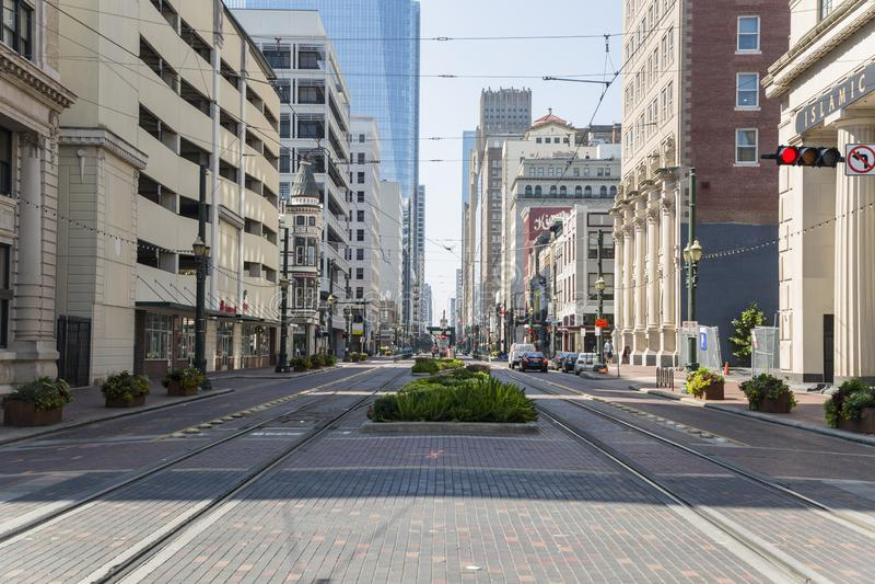 Houston im Stadtzentrum gelegen von der Hauptstraße stockbilder