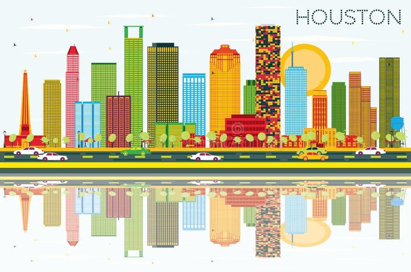 Houston linia horyzontu z budynkami, niebieskim niebem i odbiciami koloru, royalty ilustracja