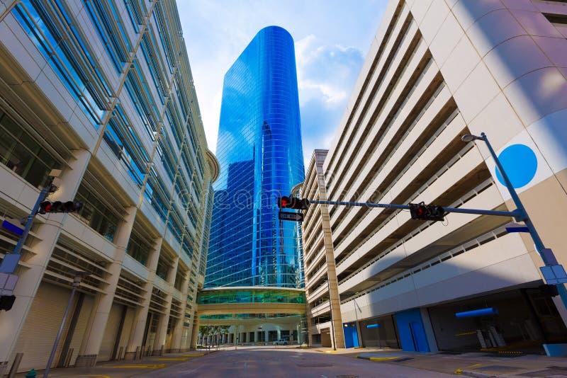 Houston linii horyzontu pejzaż miejski od Bell St w Teksas USA obraz royalty free