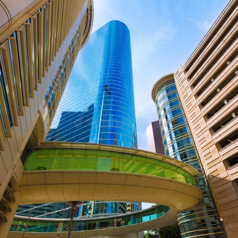 Houston linii horyzontu pejzaż miejski od Bell St w Teksas USA zdjęcia stock