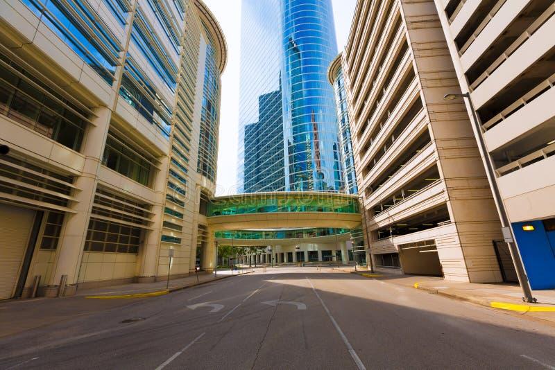 Houston linii horyzontu pejzaż miejski od Bell St w Teksas USA obraz stock