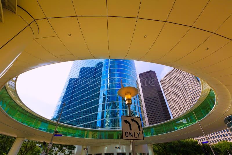 Houston linii horyzontu pejzaż miejski od Bell St w Teksas USA fotografia stock