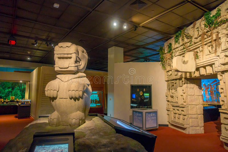 HOUSTON, LOS E.E.U.U. - 12 DE ENERO DE 2017: Arte indio con las estructuras del maya de la zona dentro del Museo Nacional de la c foto de archivo