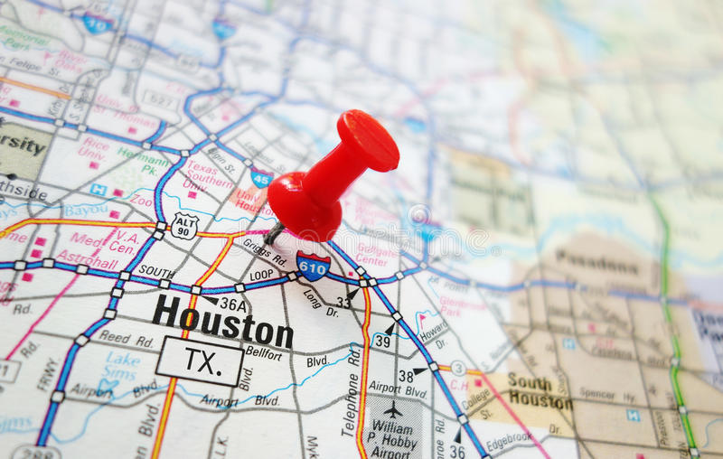 Houston map. Closeup of a Houston, Texas map with red pin