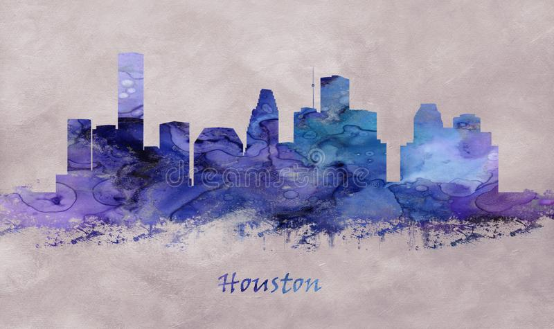 Houston miasto w Teksas, linia horyzontu ilustracja wektor