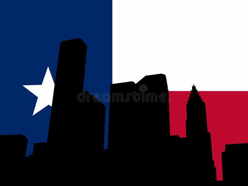 Houston mit Texanmarkierungsfahne vektor abbildung